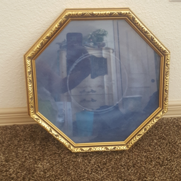 reco Other - Vintage Glass Wood Plate Frame Shadowbox